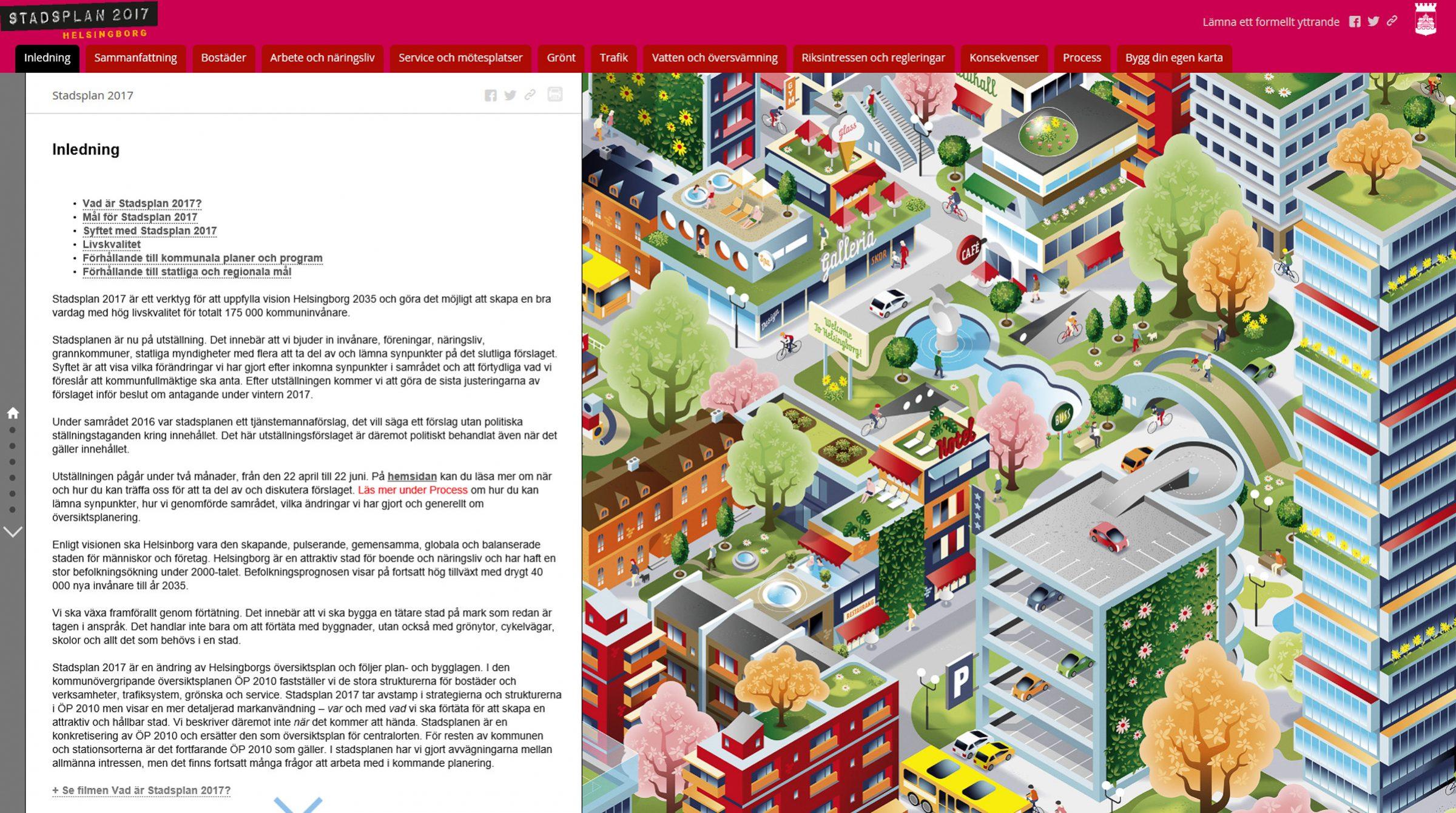 Helsingborg stadsplan i StoryMaps