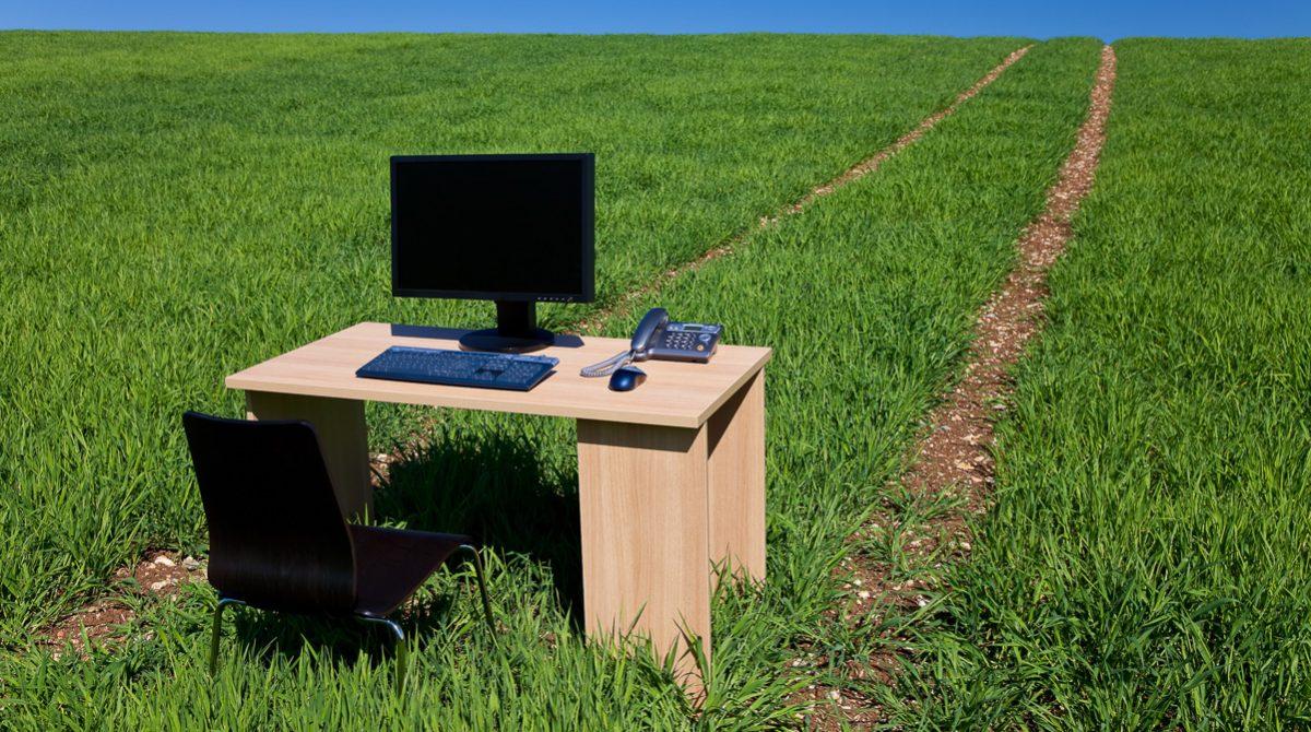 Skrivbord på grönt fält i solsken