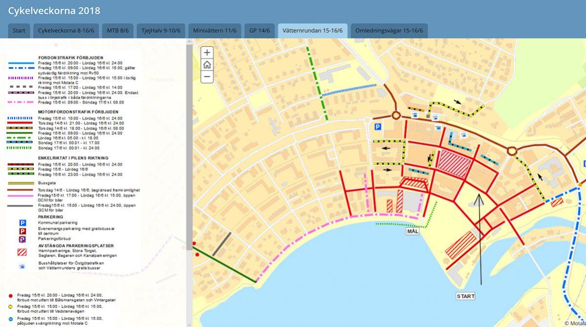 Motala kommuns Story Map över trafikförändringar