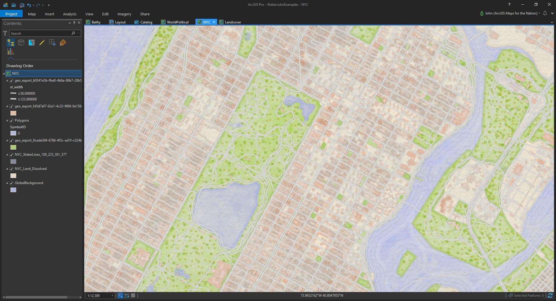 stadskarta med vattenfärger