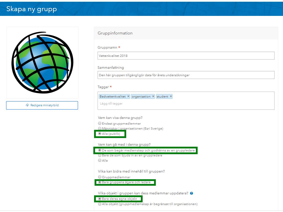 Inställningar för användargrupp