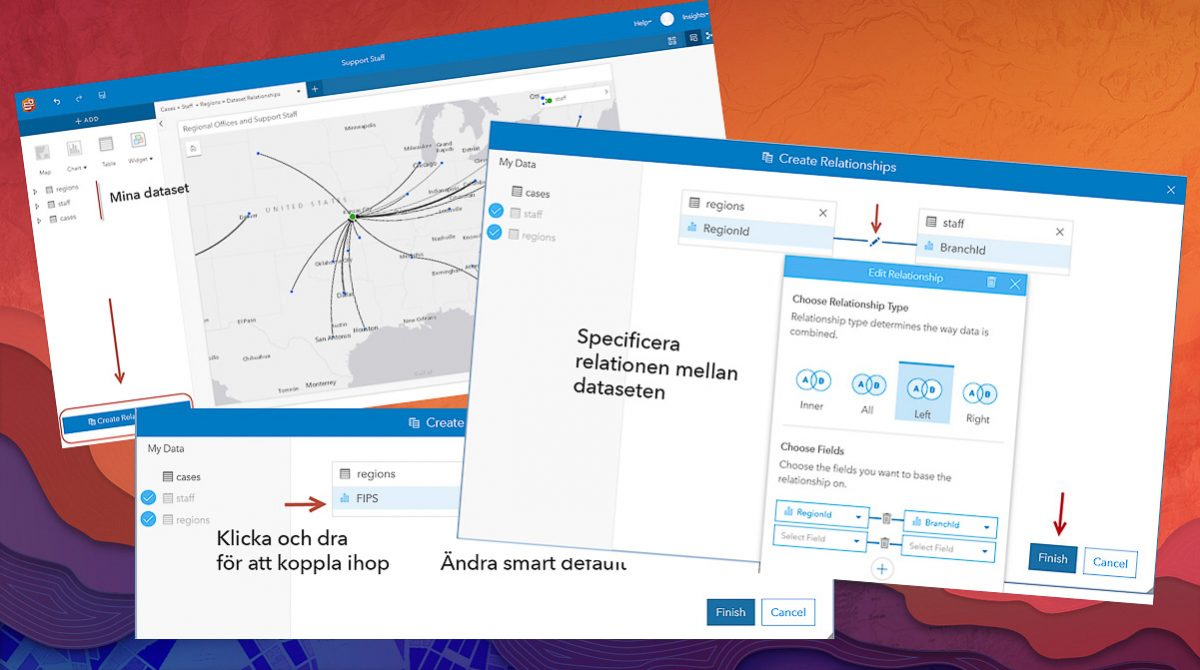 Skapa relationer i Insights for ArcGIS
