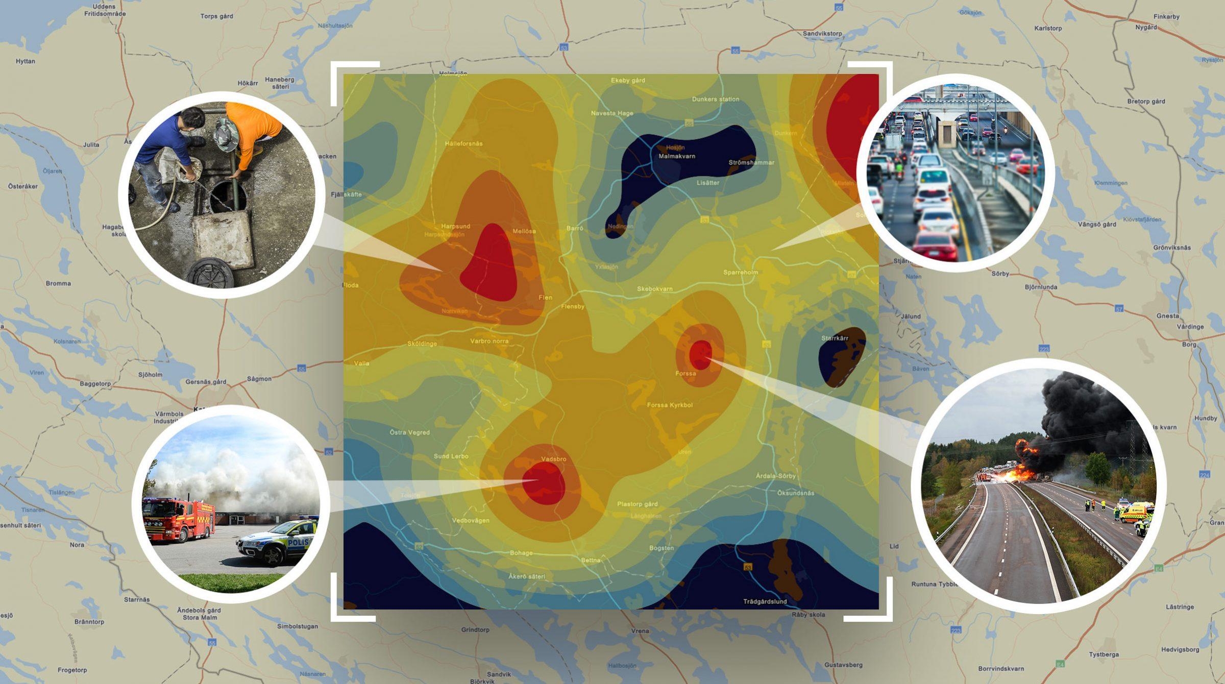 En karta i ArcGIS kan visar vad som sker var