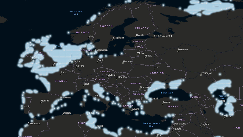 Firefly-karta över Europa