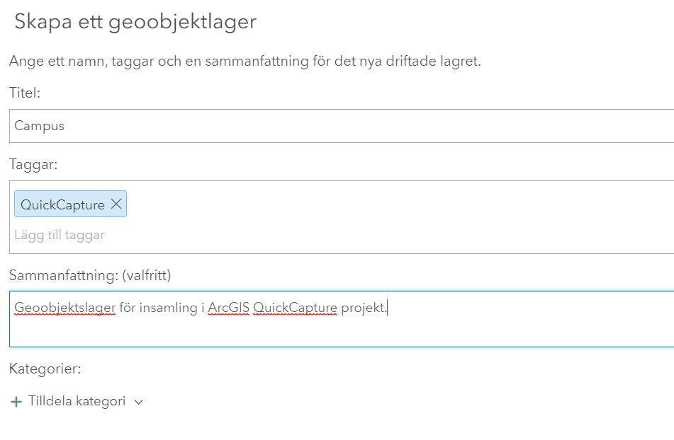 Skapa ditt första projekt i ArcGIS QuickCapture
