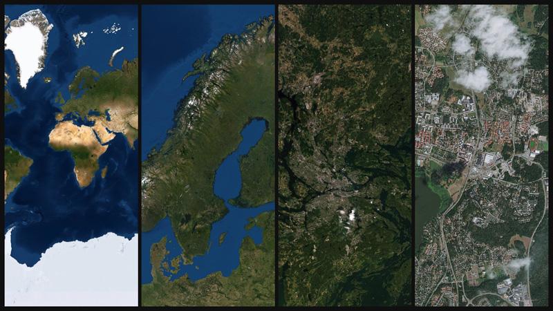 Flygfoto som bakgrundskarta, från Esri
