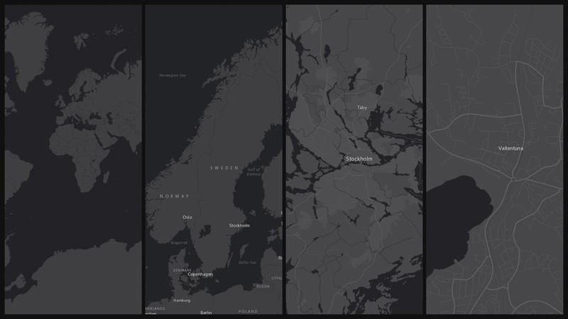 Grå bakgrundskarta från Esri