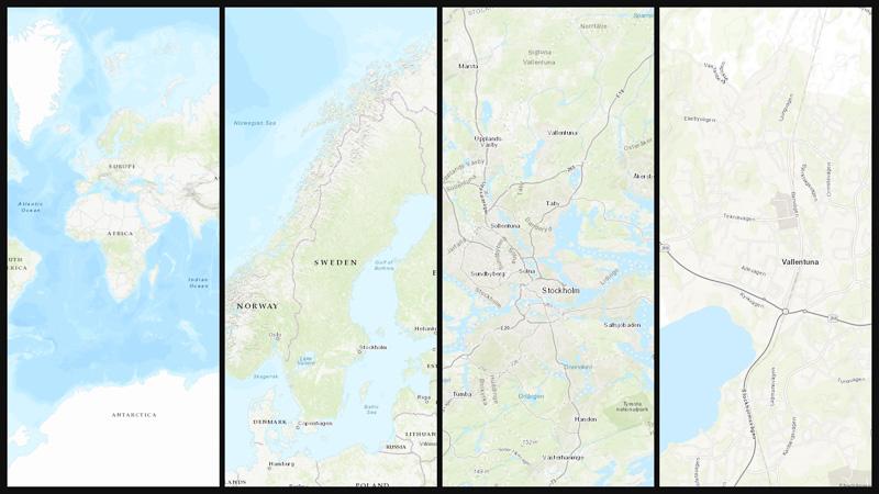 Topografisk bakgrundskarta från Esri