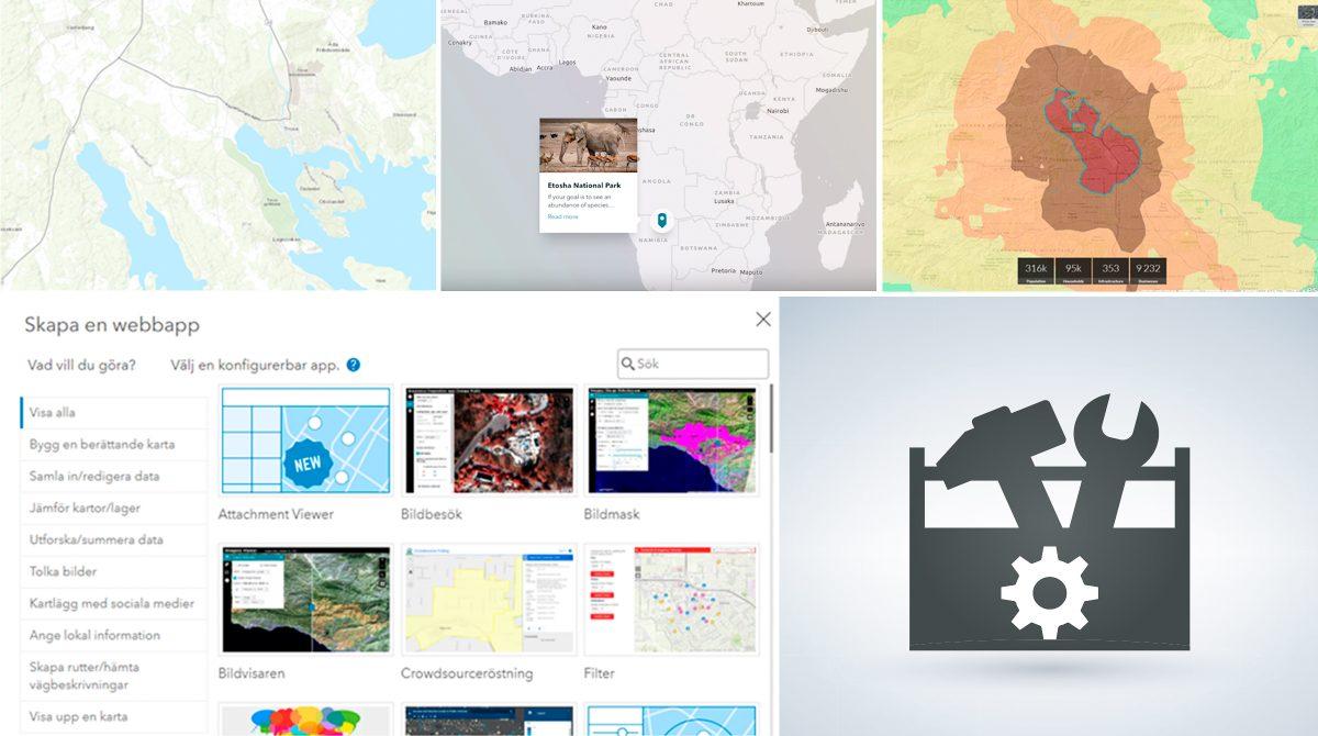 Olika konfigurerbara webbappar i ArcGIS
