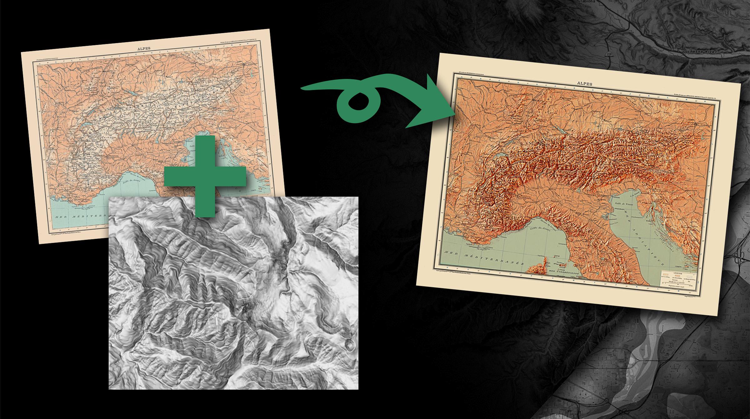 Terrängskuggning i ArcGIS Pro ger gamla kartor nytt liv