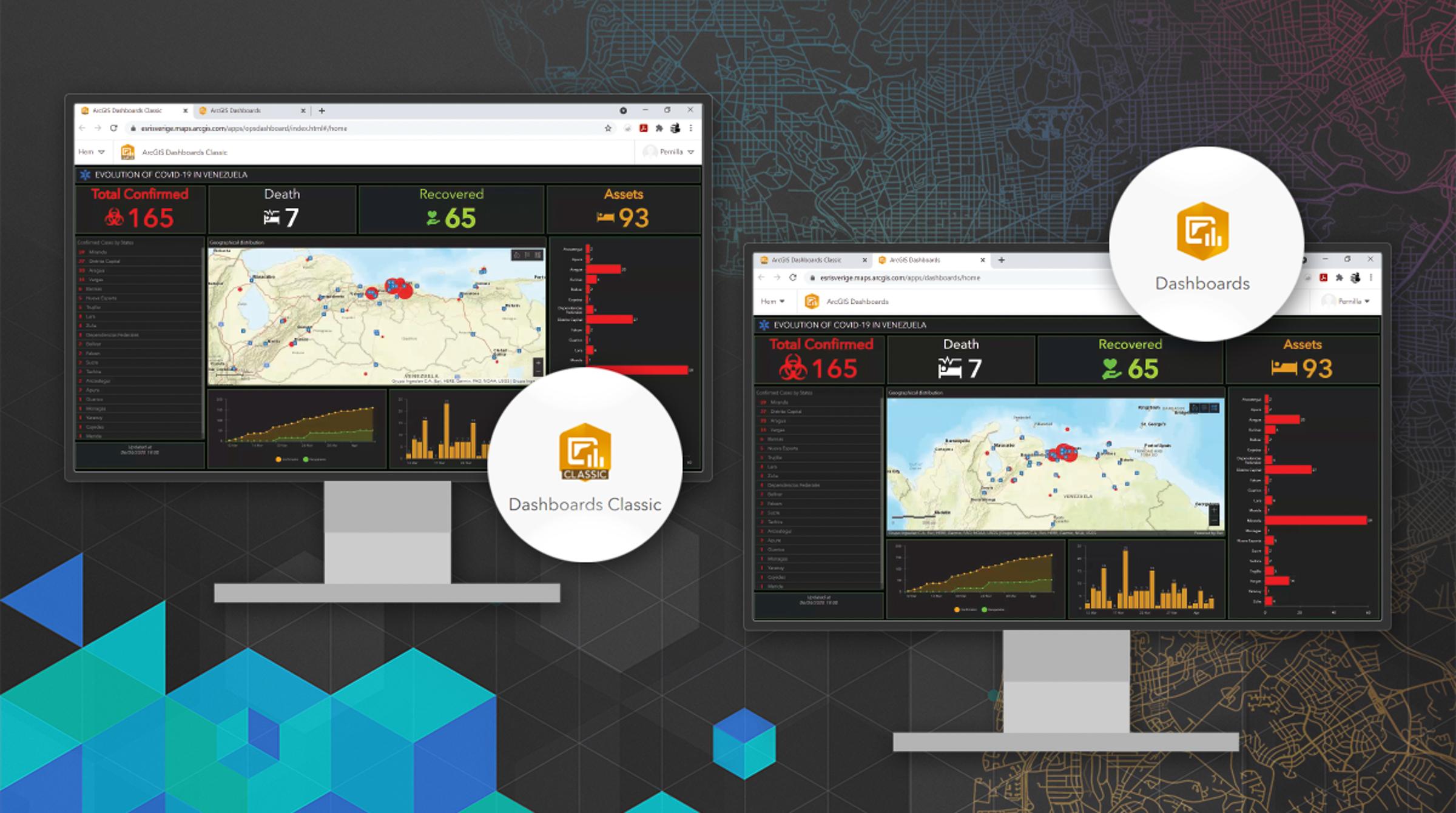Nya ArcGIS Dashboard sida vid sida med ArcGIS Dashboards Classic