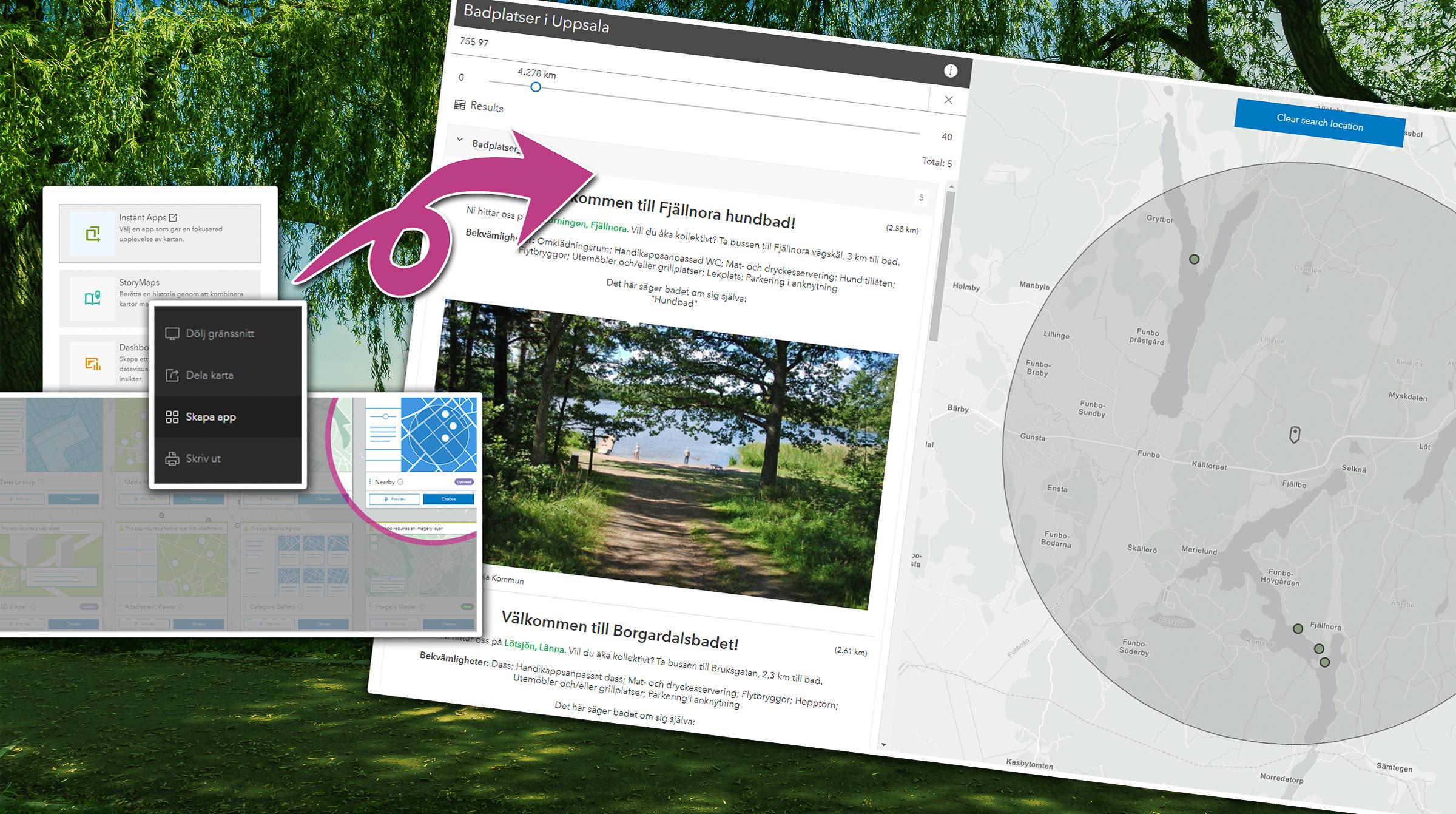 Skapa interaktiv karta med ArcGIS-appen Nearby