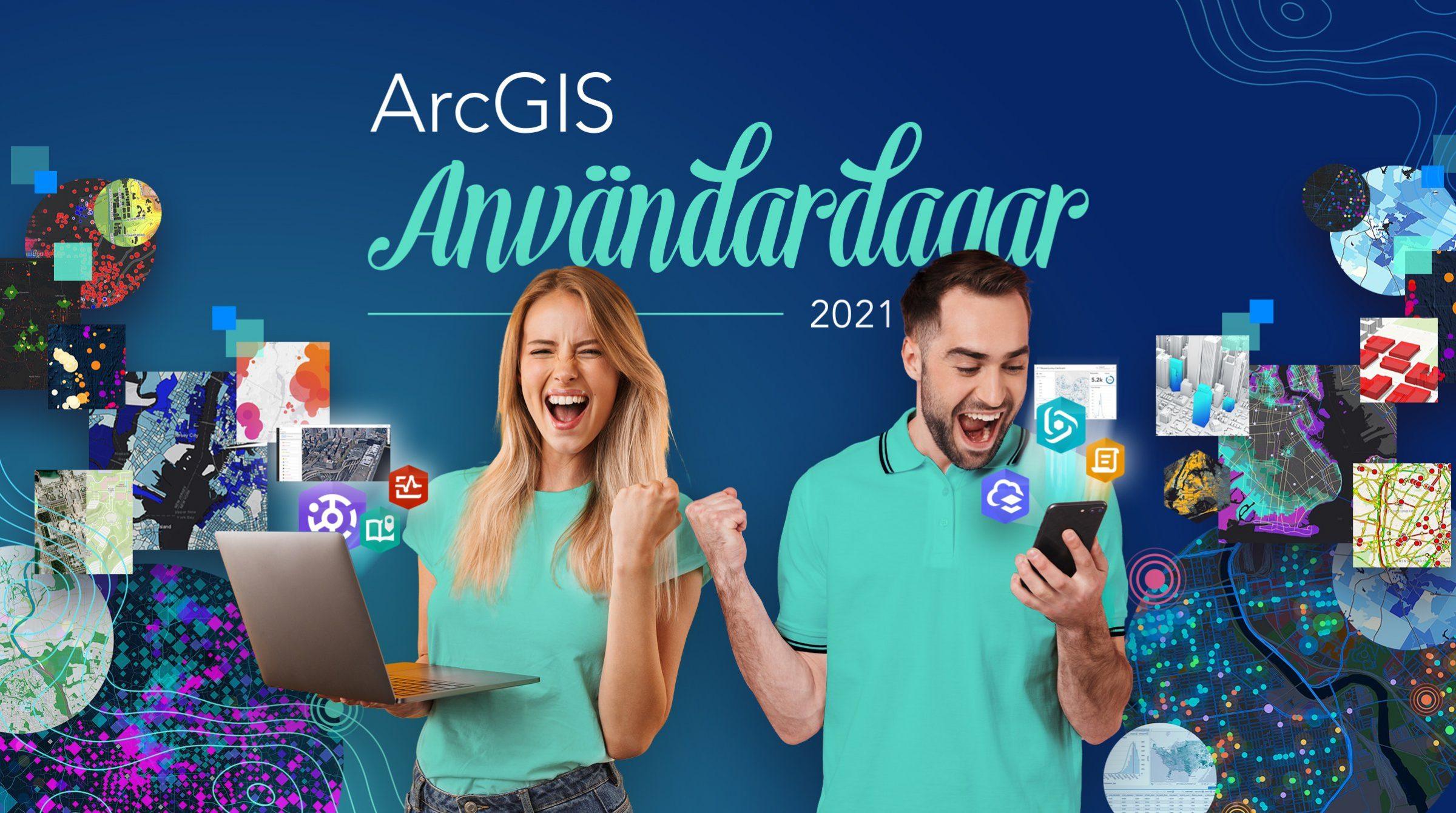 Man och kvinna glada över ArcGIS-r