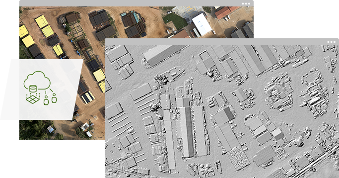 A hillshade map of buildings laid in a grid overlaps an unaltered aerial photograph of same image.