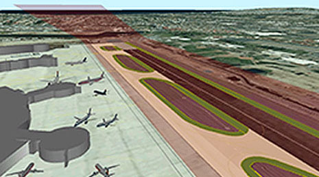 3D imagery of airplanes and an airport