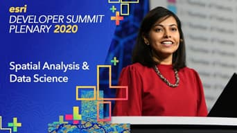 Esri 2020 Developer Summit Plenary graphic next to a photo of a woman in a red dress