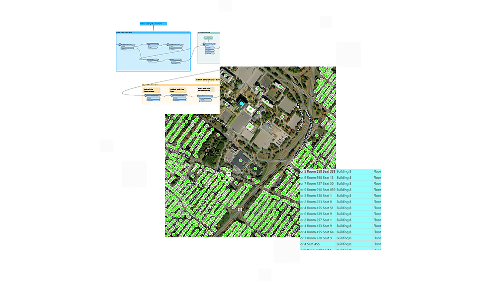 Aerial image of a building complex with green data points and a small box with building data and workflow chart