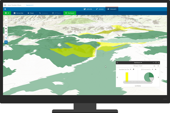 Interactive map with landscape and overlayed data shown on a monitor