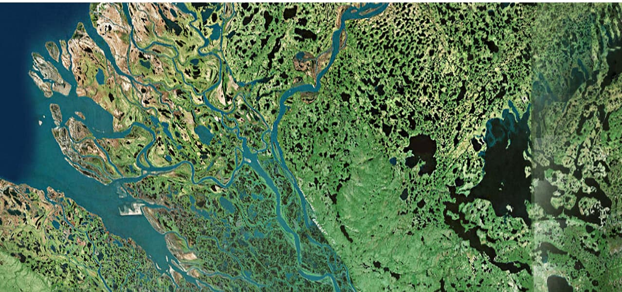 A Landsat satellite image looking at various rivers cutting through land.