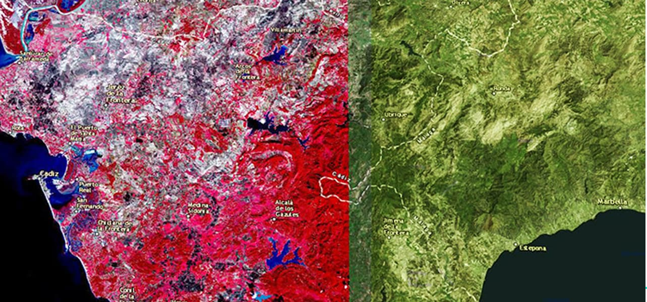 Map comparing two images, the left is a color infrared image and on the right is an RGB.