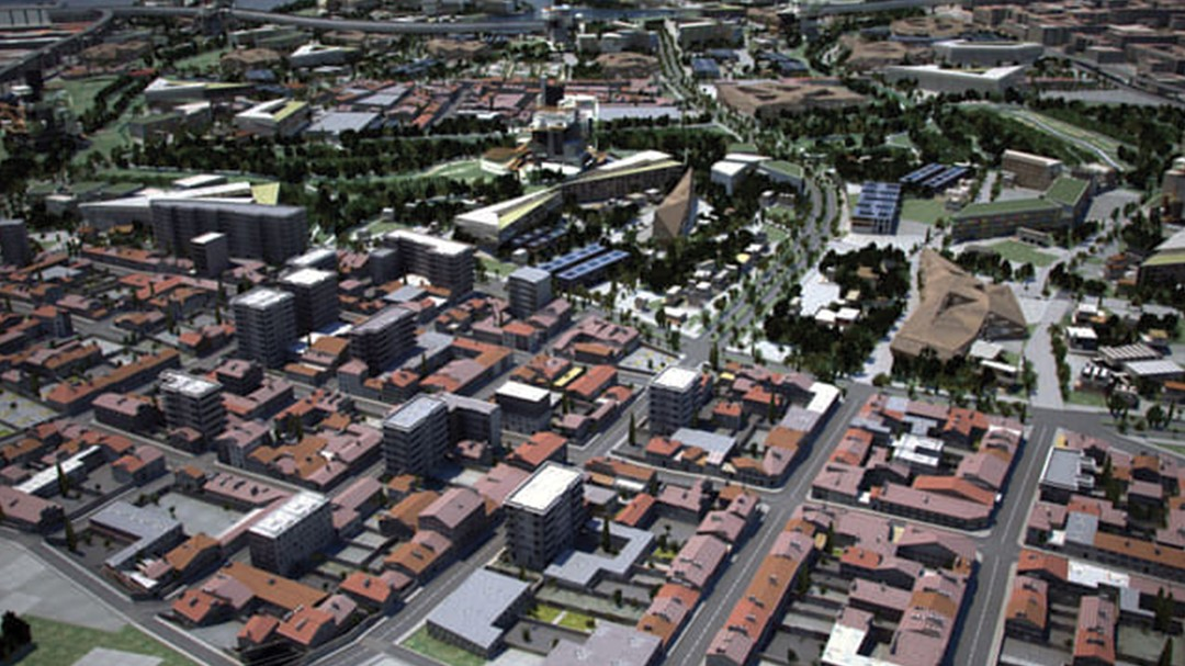 Aerial view of commercial area in Marseilles in CityEngine