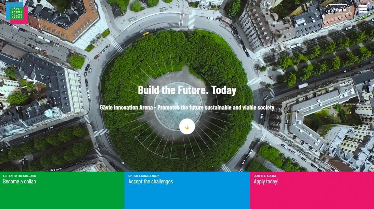 Skärmdump på startsidan för Gävle Innovation Arena
