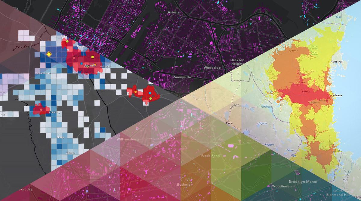 Montage med tre visualiseringar på karta