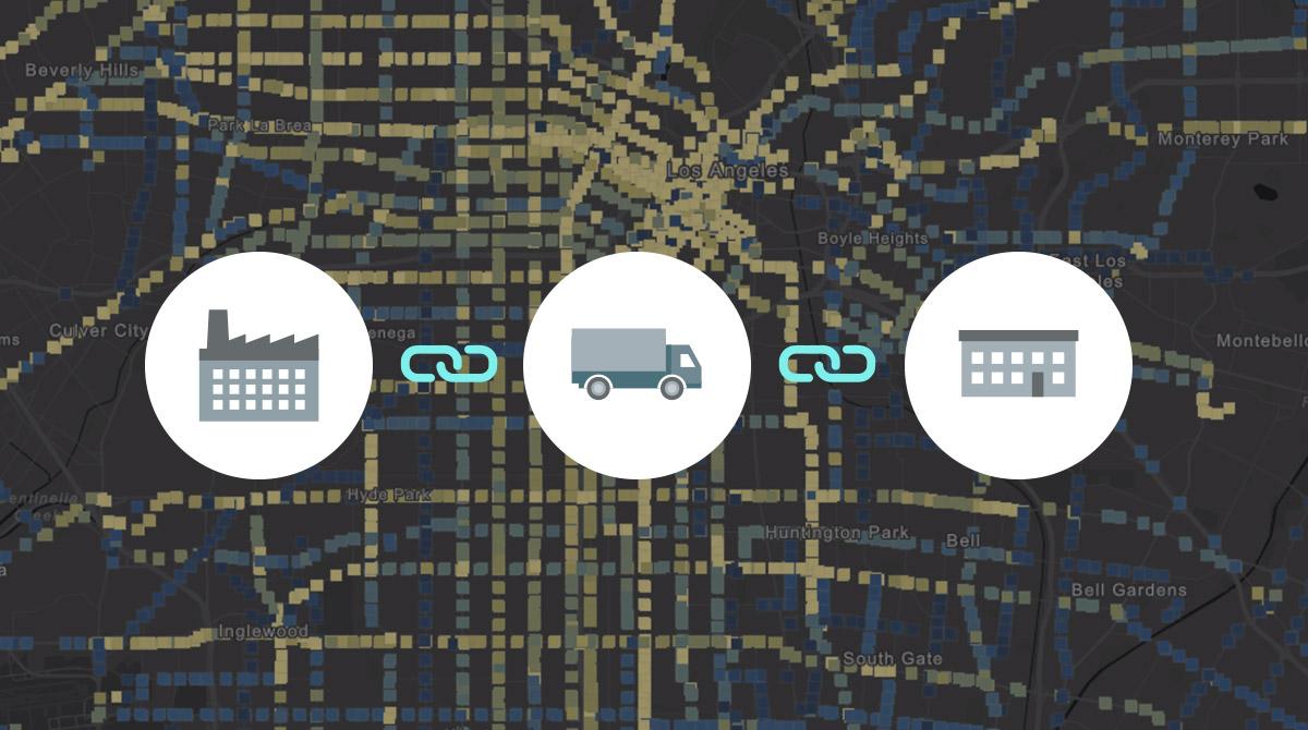Illustration av förenklad försörjningskedja med visualisering på karta som bakgrund