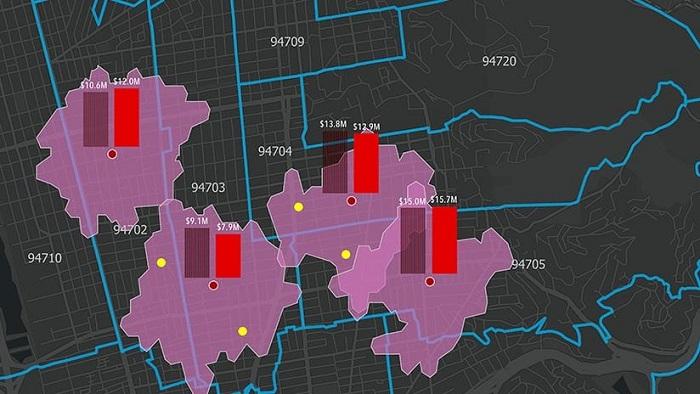Visualisering på karta - körtidsområden kopplat till butiker