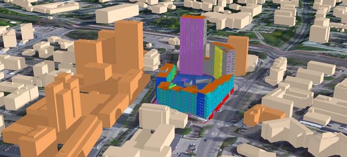 Visualisering av kombinationen BIM- och GIS-data.