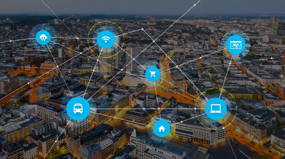 Flygfoto med illustrationer för IoT
