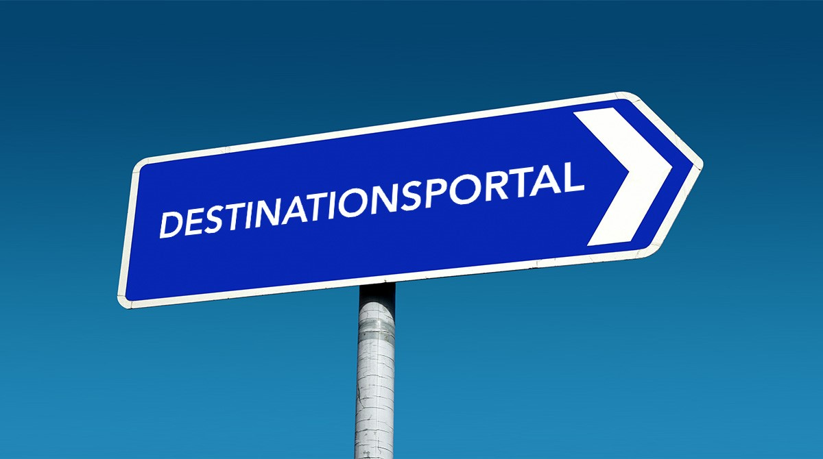 Vägskylt med texten: destinationsportal