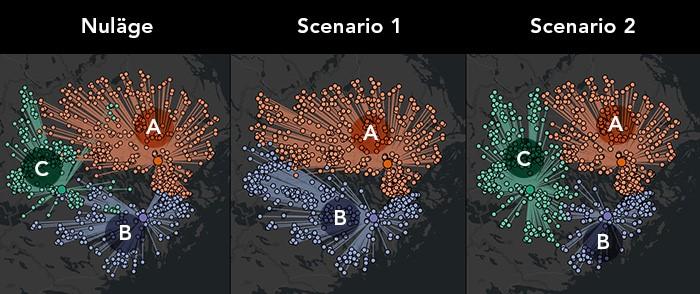 Jämförelse: 3 scenarion genom kartvisualisering