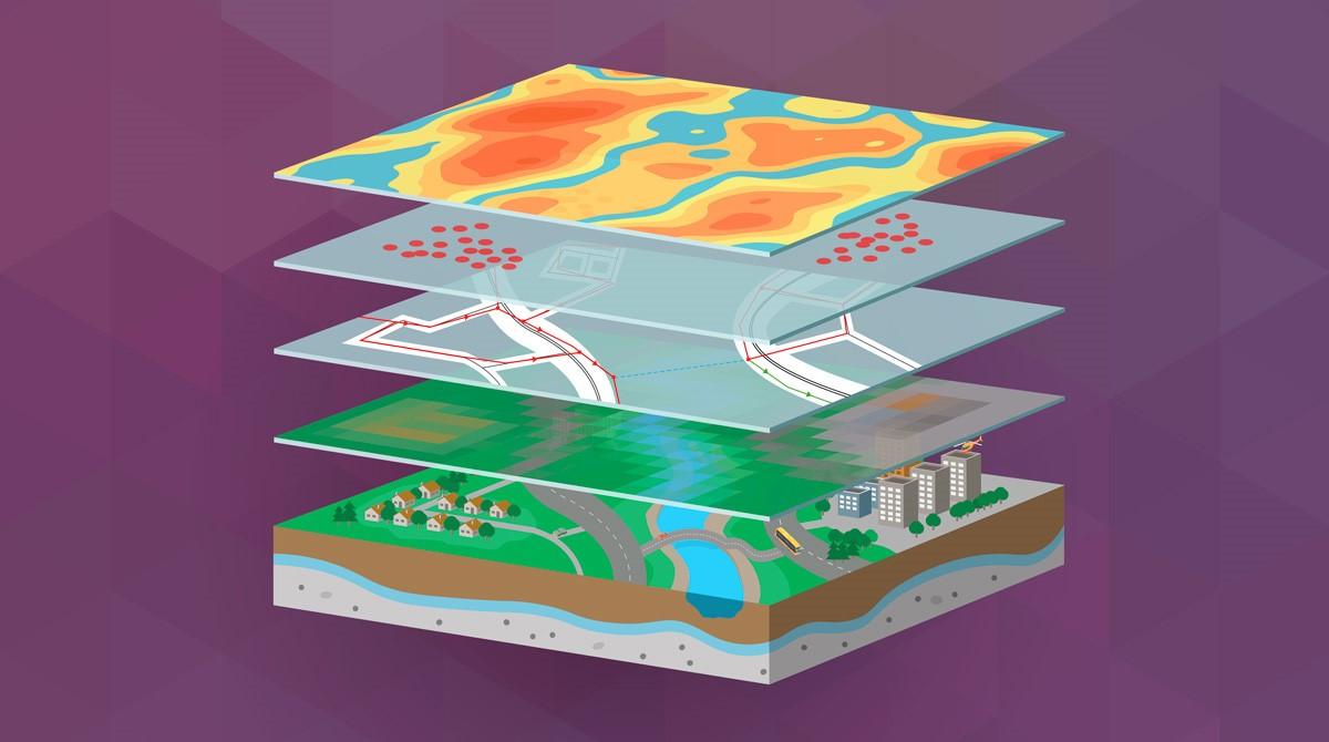 Vad är GIS? visualiserat i form av datalager