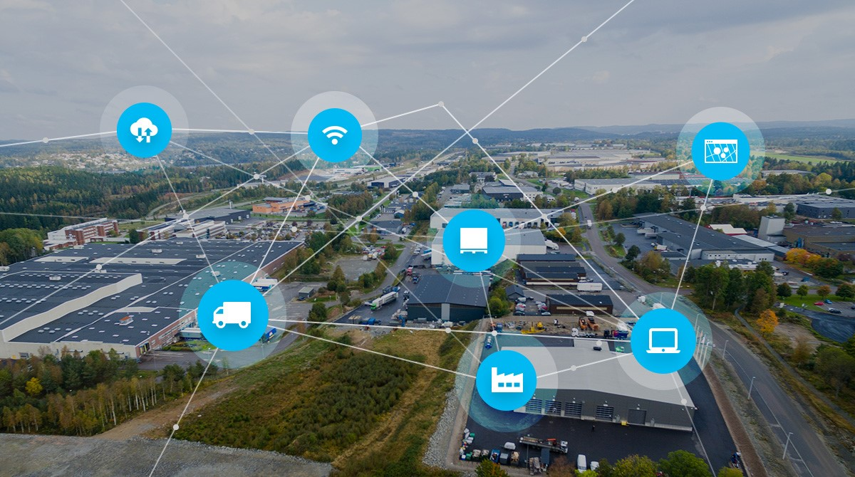 Flygbild industriområde, med illustration av IoT