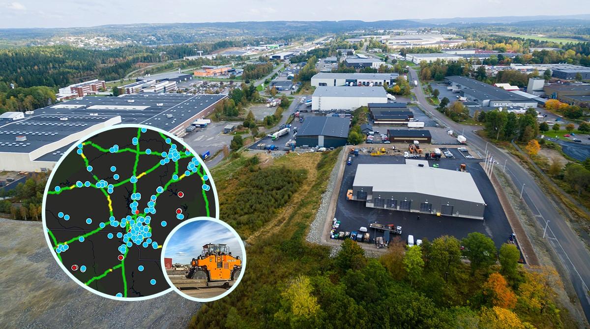 Flygbild industriområde, med kartvisualisering