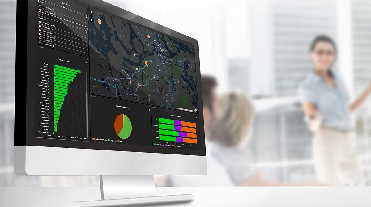 Dashboard med visualisering på karta används under möte