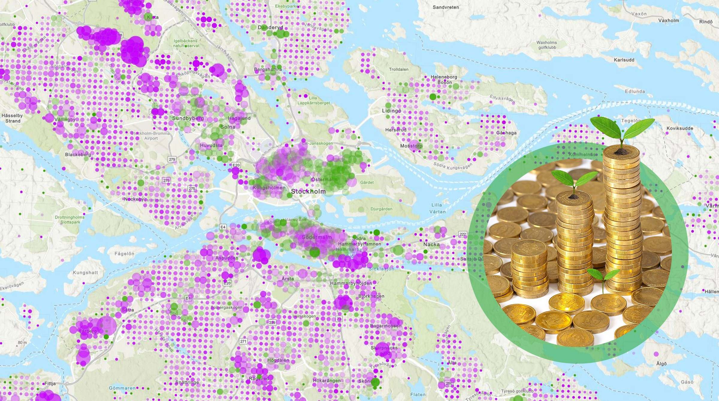 Visualisering på karta och hög med pengar