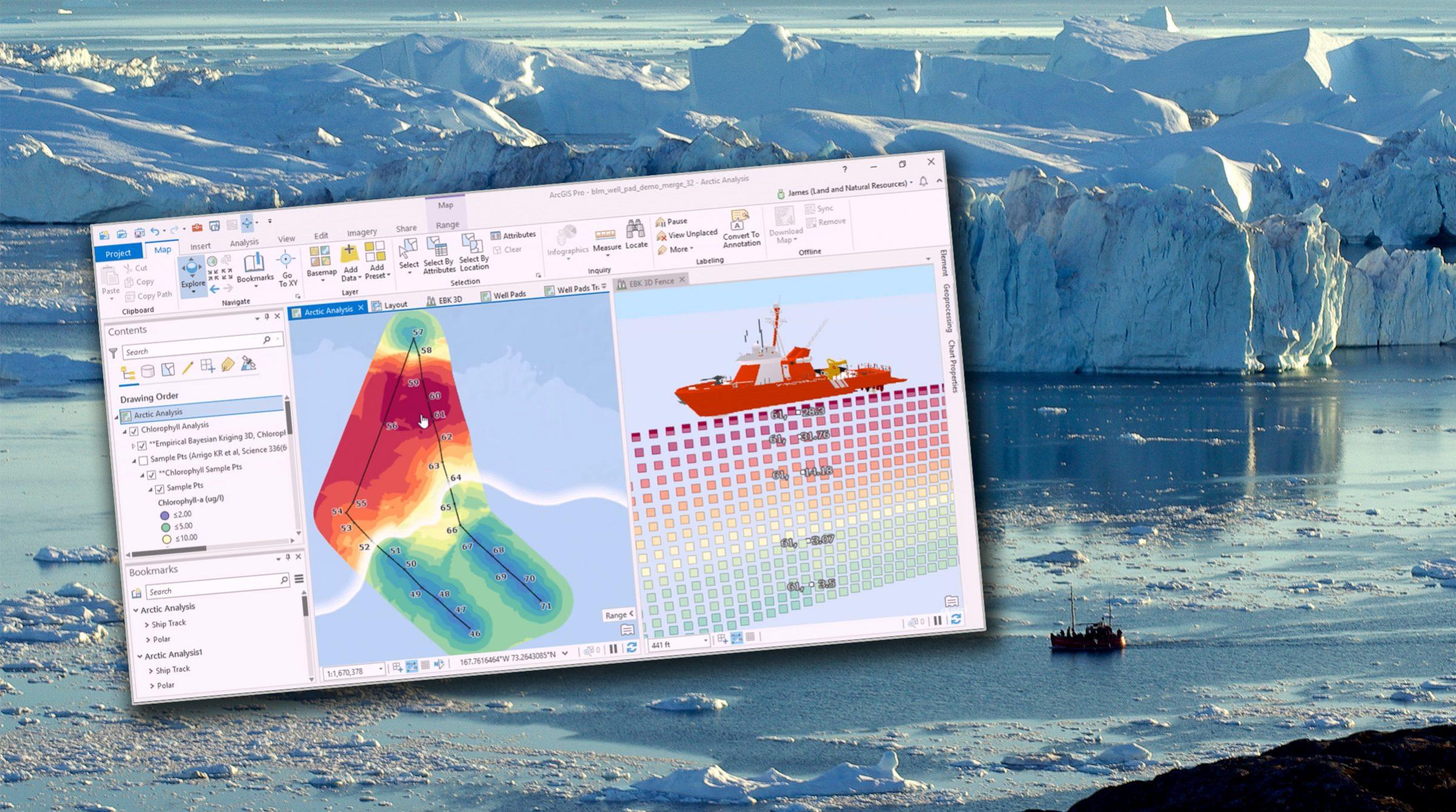 ArcGIS analyserar mätning i Arktis