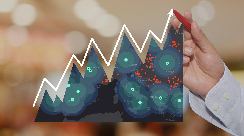 Tillväxtkurva med visualisering på karta