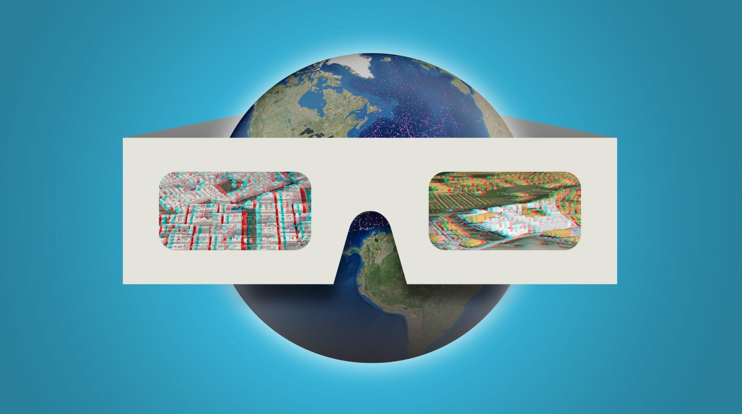 3D-glasögon på jordglob