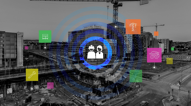 Byggarbetsplats och symboler för asset management med kartstöd