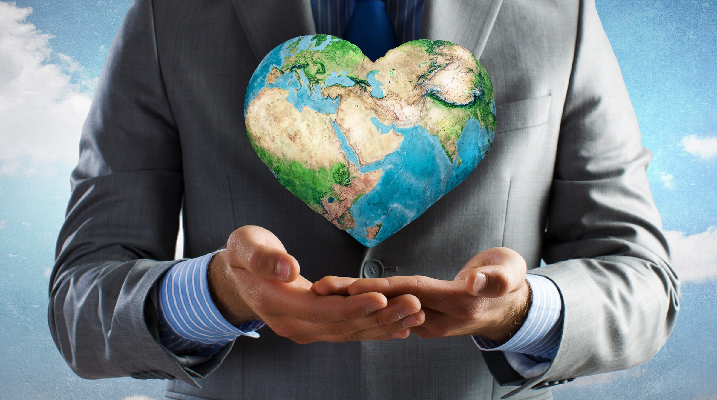 En jordglob i formen av ett hjärta