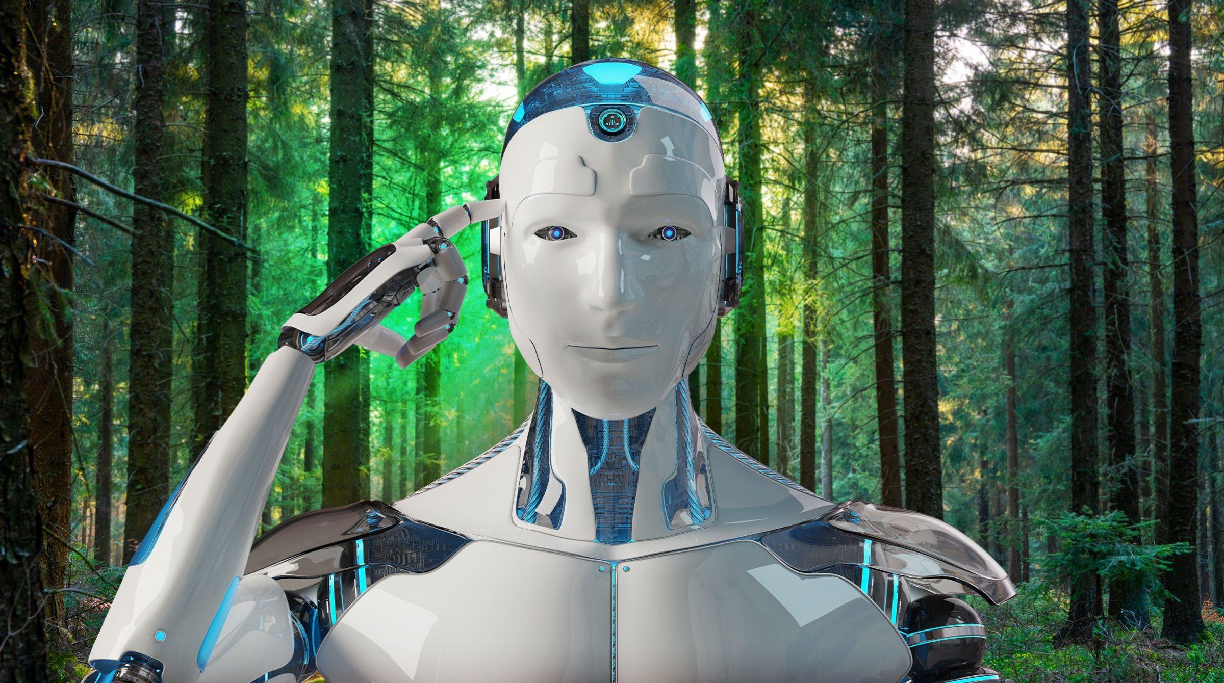 Robot i skog symboliserar AI