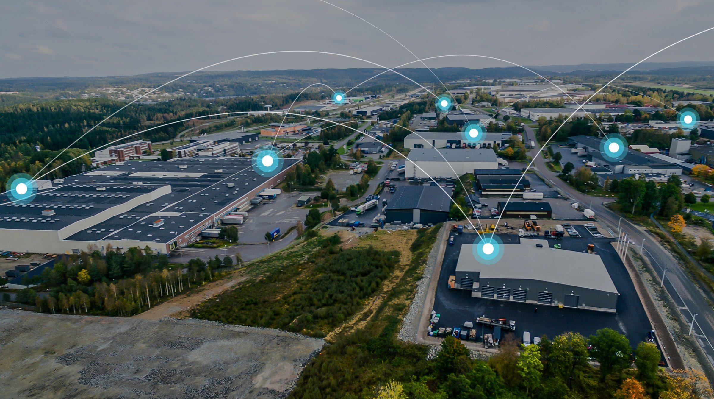 Flygbild industriområde