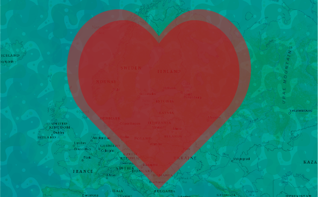 Heart over map of Eupore